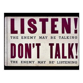 Listen! Don't Talk Postcard