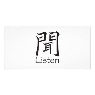 Listen Kanji Character Photo Card Template