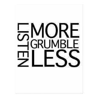Listen More Grumble Less Postcard