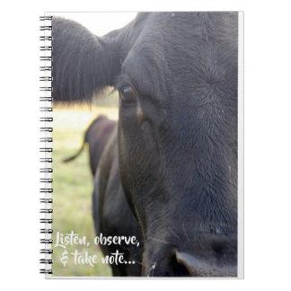 Listen, Observe, & Take Note Cow Notebook