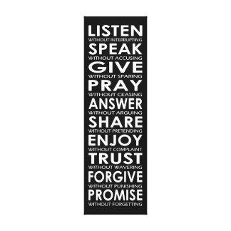 LISTEN, SPEAK, GIVE, PRAY, ANSWER CANVAS PRINT