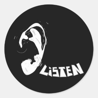 Listen Classic Round Sticker