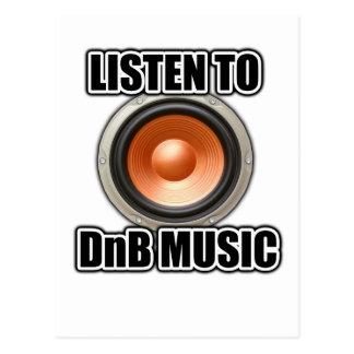 LISTEN TO DNB MUSIC Drum and Bass gear Postcard