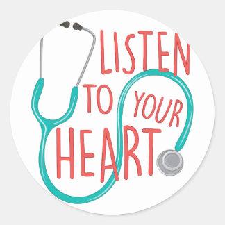 Listen To Heart Classic Round Sticker