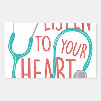 Listen To Heart Rectangular Sticker