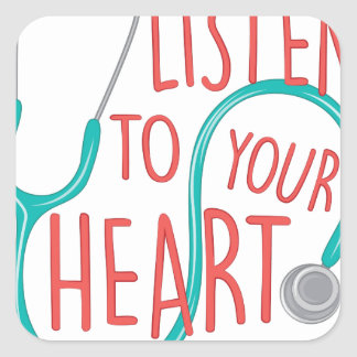 Listen To Heart Square Sticker