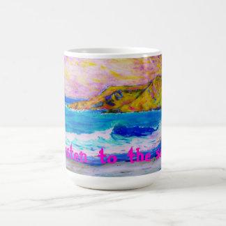 listen to the sea coffee mug