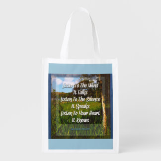 Listen to the wind reusable grocery bag
