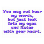 Listen with your heart post card