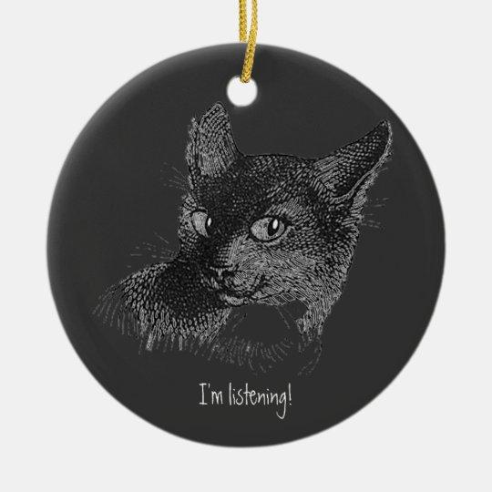 Listening Cat Ceramic Ornament