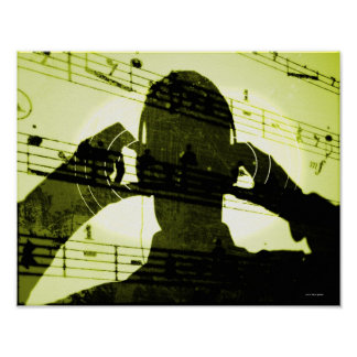 Listening to Music Poster