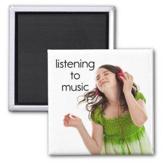 Listening to Music Refrigerator Magnet
