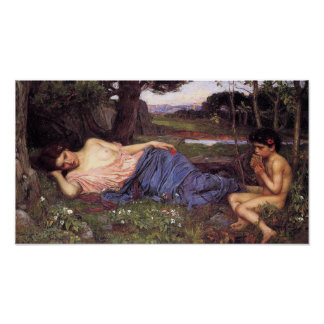 Listening to my Sweet Piping by John W. Waterhouse Poster