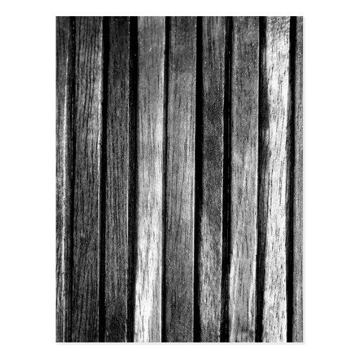Listones de madera blancos y negros postal