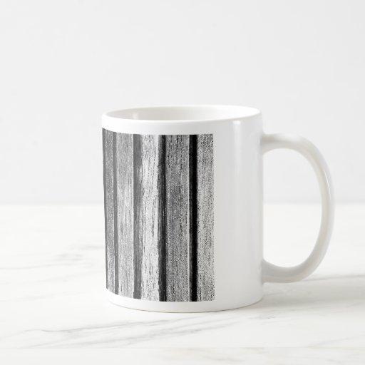 Listones de madera blancos y negros tazas de café