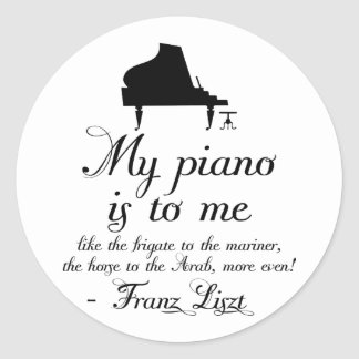 Liszt Piano Classical Music Quote Round Sticker