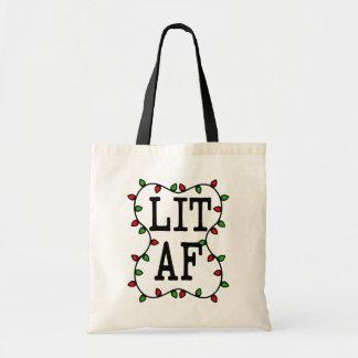Lit AF funny Christmas Lights Holiday bag