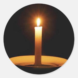 Lit Candle on Black.jpg Classic Round Sticker
