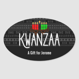 Lit Candles on Kinara with Kwanzaa and Custom Name Oval Sticker