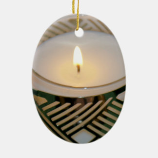 Lit Christmas Holiday Candle Silver Candleholder Ceramic Ornament