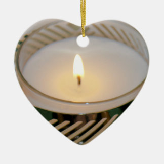 Lit Christmas Holiday Candle Silver Candleholderv2 Ceramic Ornament