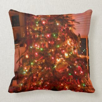 Lit Christmas Tree Throw Pillow
