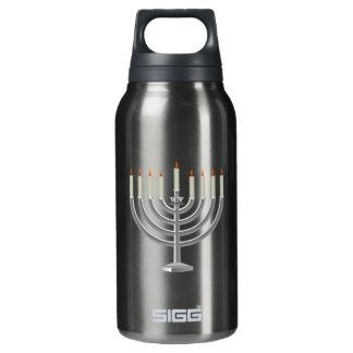 Lit Silver Hanukkah Menorah with Star of David Insulated Water Bottle