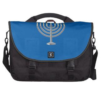 Lit Silver Hanukkah Menorah with Star of David Laptop Bag