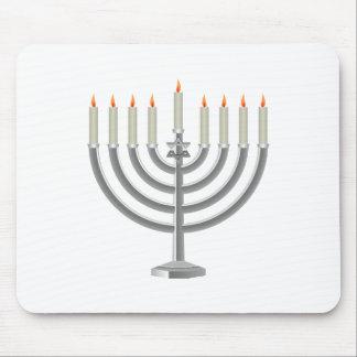 Lit Silver Hanukkah Menorah with Star of David Mouse Pad