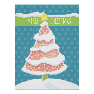 Lit Snowy Pink Christmas Tree and Star Tree Topper Poster