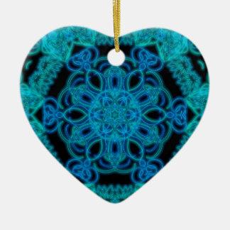 Lit up in Blue mandala Ceramic Ornament