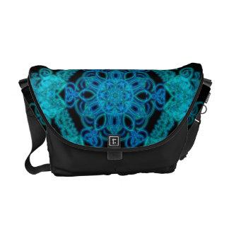 Lit up in Blue mandala Messenger Bag