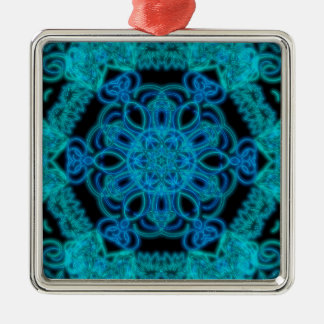 Lit up in Blue mandala Metal Ornament