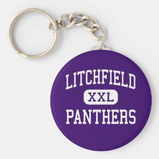 Litchfield - panteras - alto - Litchfield Illinois Llavero Redondo Tipo Pin