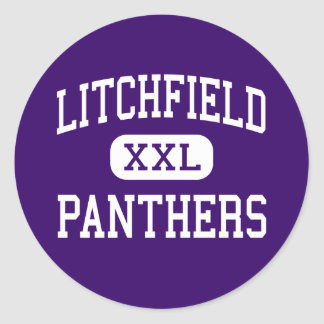 Litchfield - panteras - alto - Litchfield Illinois Pegatina Redonda