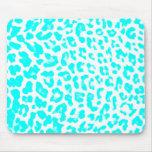 Lite Blue Leopard Print Mousepads