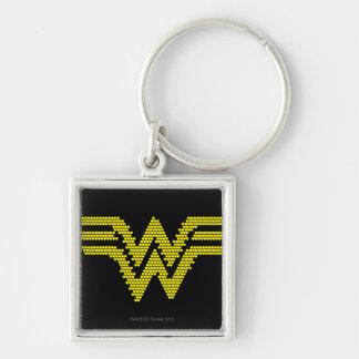 Lite-Brite WW Symbol Silver-Colored Square Keychain