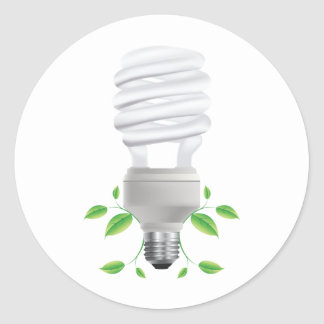 Lite Bulb ~ Compact Florescent CF Live Green Classic Round Sticker