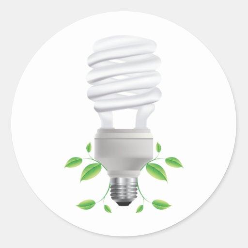 Lite Bulb ~ Compact Florescent CF Live Green Round Sticker