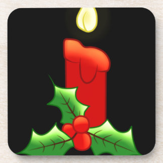 Lite Candle with Holly Drink Coaster