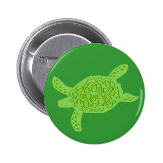 Lite green honu sea turtle button