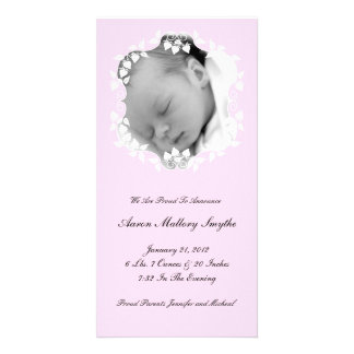 Lite Pink Girl New Baby Photo Card