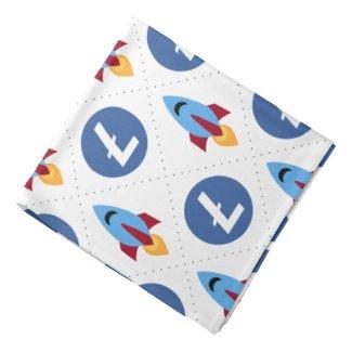 Litecoin to the moon rocket bandana simple pattern