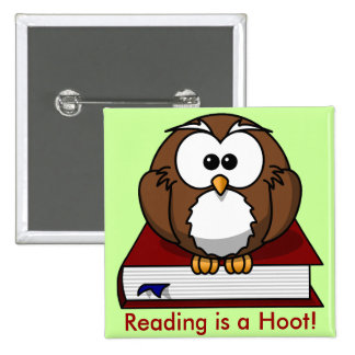 Literacy Awareness: Reading is a Hoot 2 Inch Square Button