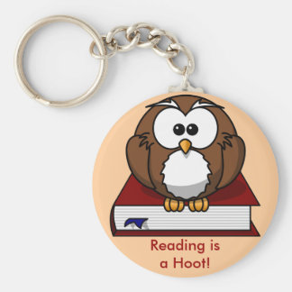Literacy Awareness: Reading is a Hoot Basic Round Button Keychain