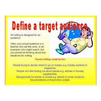 Literacy, travel writing, Define a target audience Postcard