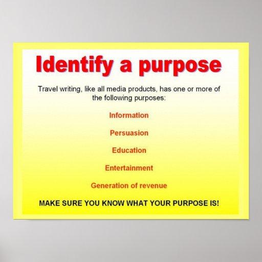 Travel Writing: Literacy, Travel Writing, Identify A Purpose Poster
