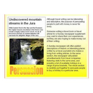 Literacy travel writing purpose- persuasion postcard