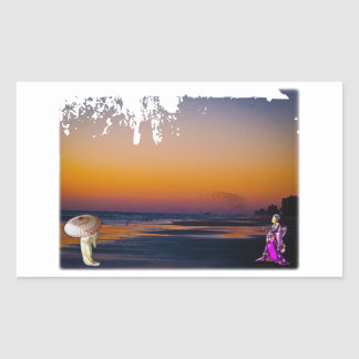 Literally a Flock of Seagulls at Dawn at the Shore Rectangular Sticker