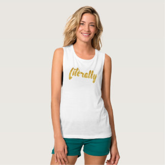 Literally - Gold Flowy Muscle Tank Top